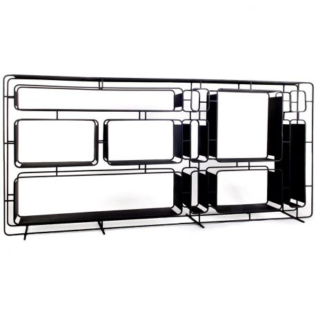 Large design black metal shelf