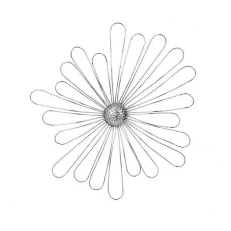 Fleur en métal décoration argent