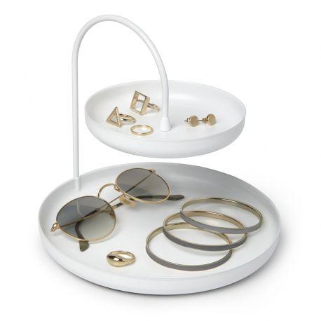 Porte bijoux en métal blanc