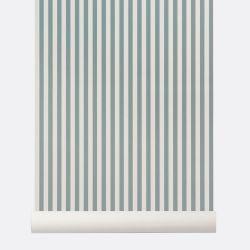 Papier Peint Thin Lines Bleu poudré / Blanc cassé