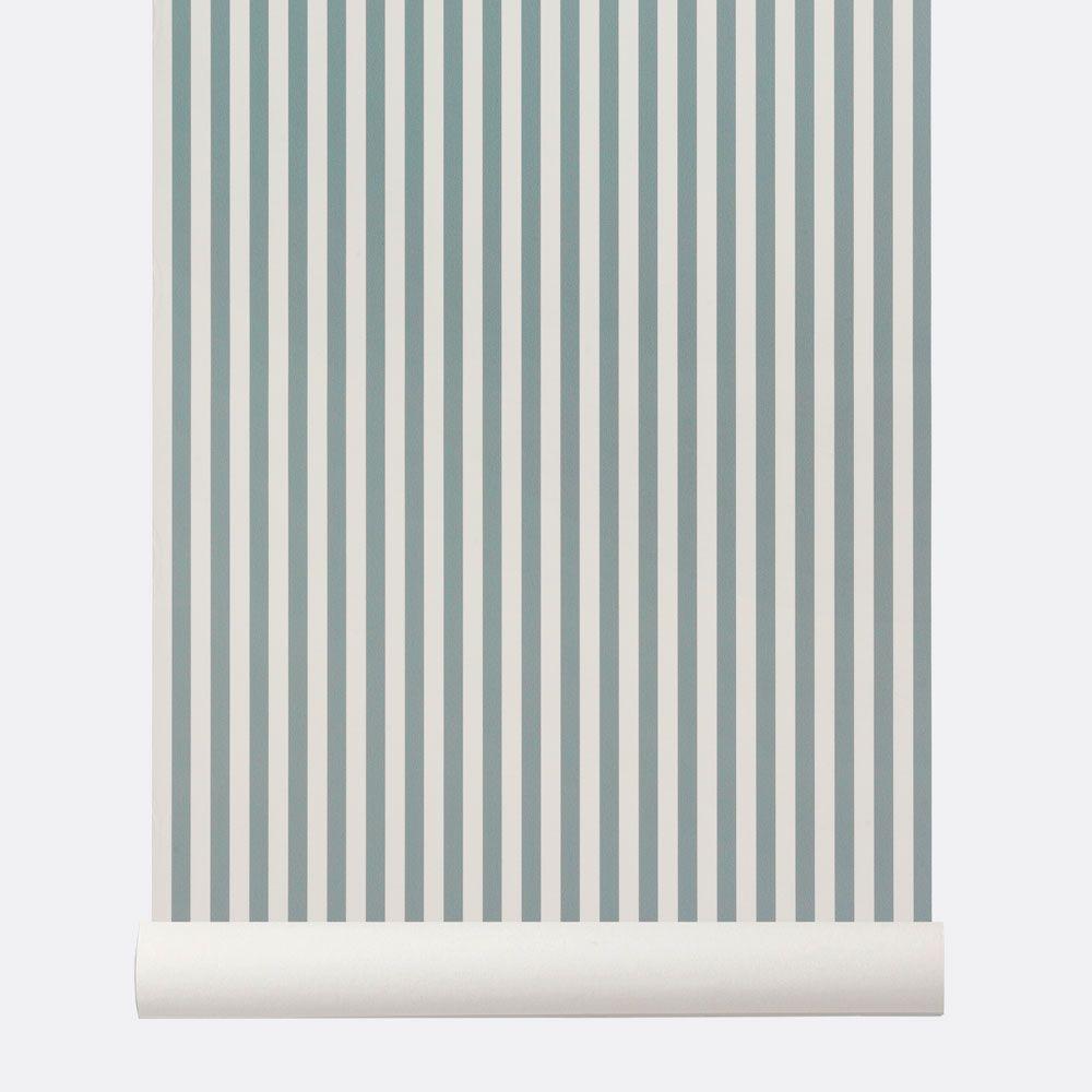 Papier Peint Rayures Verticales Bleu Et Blanc Par Ferm Living