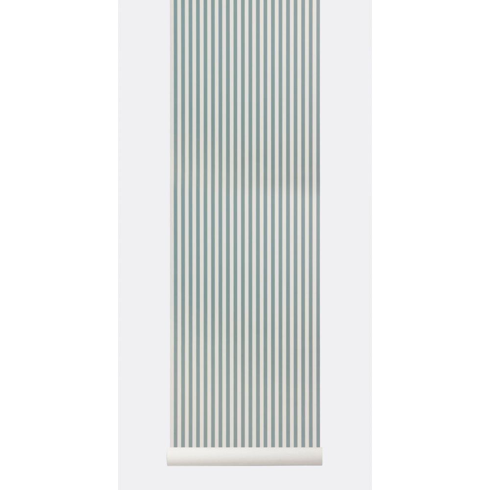 Dusty Blue And Off White Vertical Stripes Wallpaper By