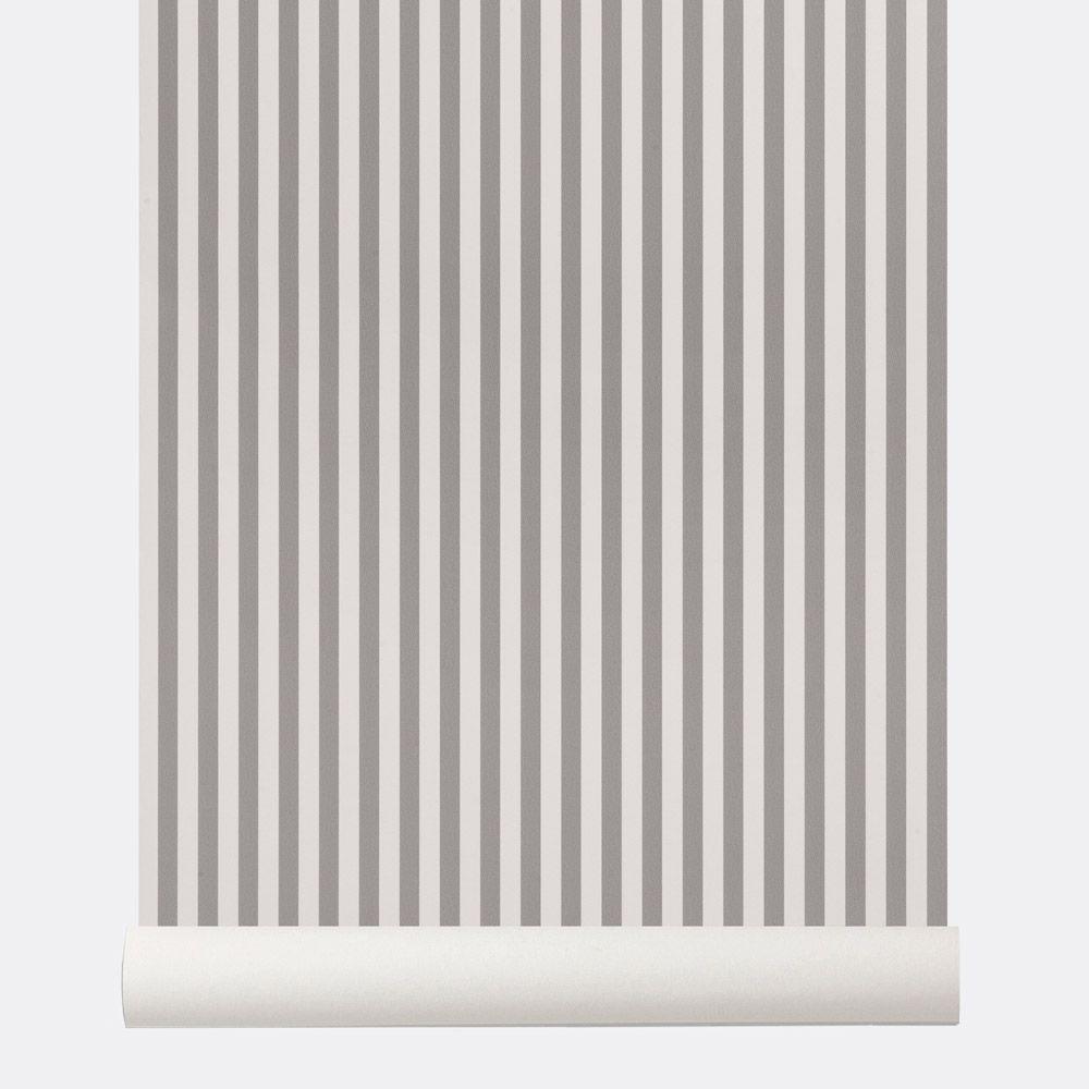 ferm living papier peint graphique scandinave rayures gris et blanc thin lines. Black Bedroom Furniture Sets. Home Design Ideas