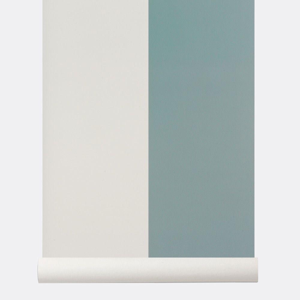 Papier Peint Ferm Living A Larges Rayures Bleues Collection Thick Lines