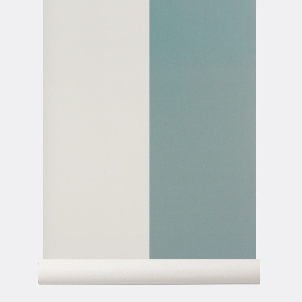 Ferm Living Wide Stripe Dusty Blue Wallpaper Thick Lines Collection