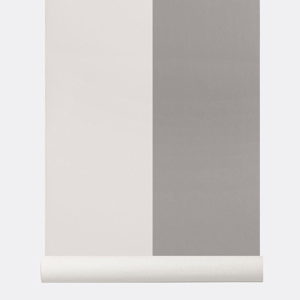 Ferm Living Papier Peint Raye Gris Et Blanc Casse Thick Lines