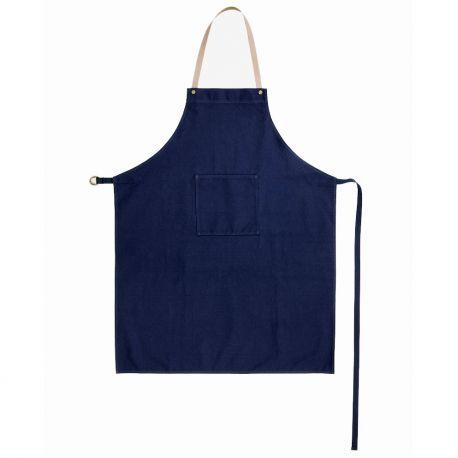 Tablier en coton et cuir Bleu Ferm Living