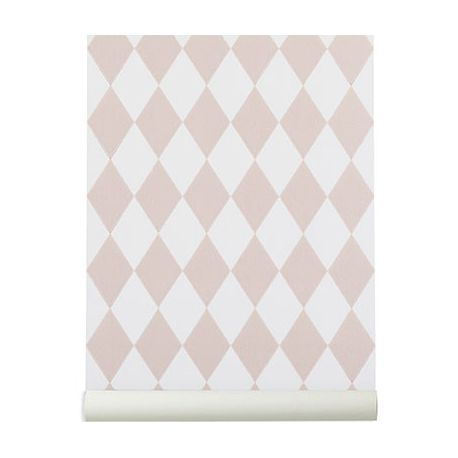 Ferm Living pink Harlequin wallpaper