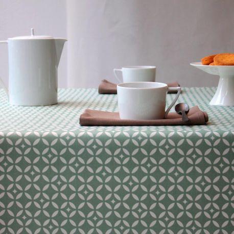 nappe coton enduit verte mosaique fleur de soleil pure deco. Black Bedroom Furniture Sets. Home Design Ideas