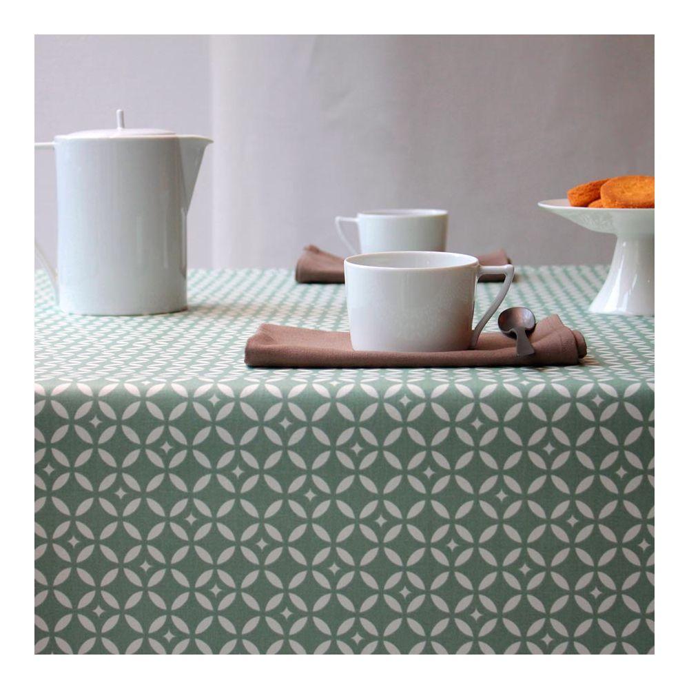 Mosaic Green Coated Cotton Tablecloth Fleur De Soleil Pure Deco