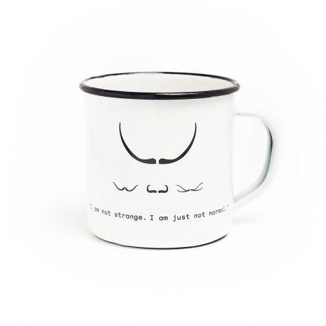 Moustache enamel cup