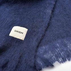 Plaid en laine uni Bleu indigo Sandhi
