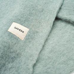 Plaid en laine uni Vert d'eau Sandhi