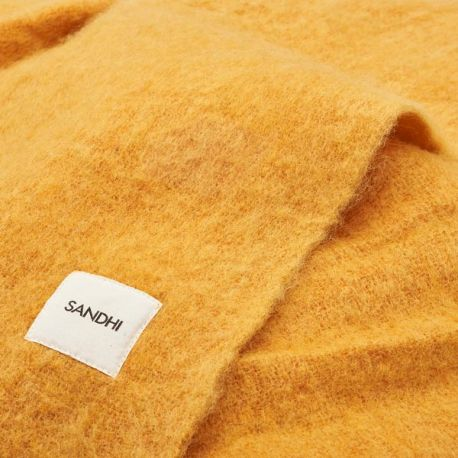 Design yellow wool blanket for sofa