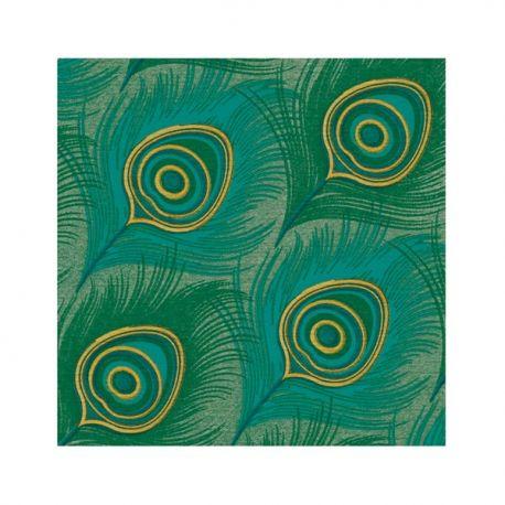 Peacock napkins in non-woven Françoise Paviot