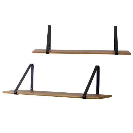 Metal and oak wall shelf