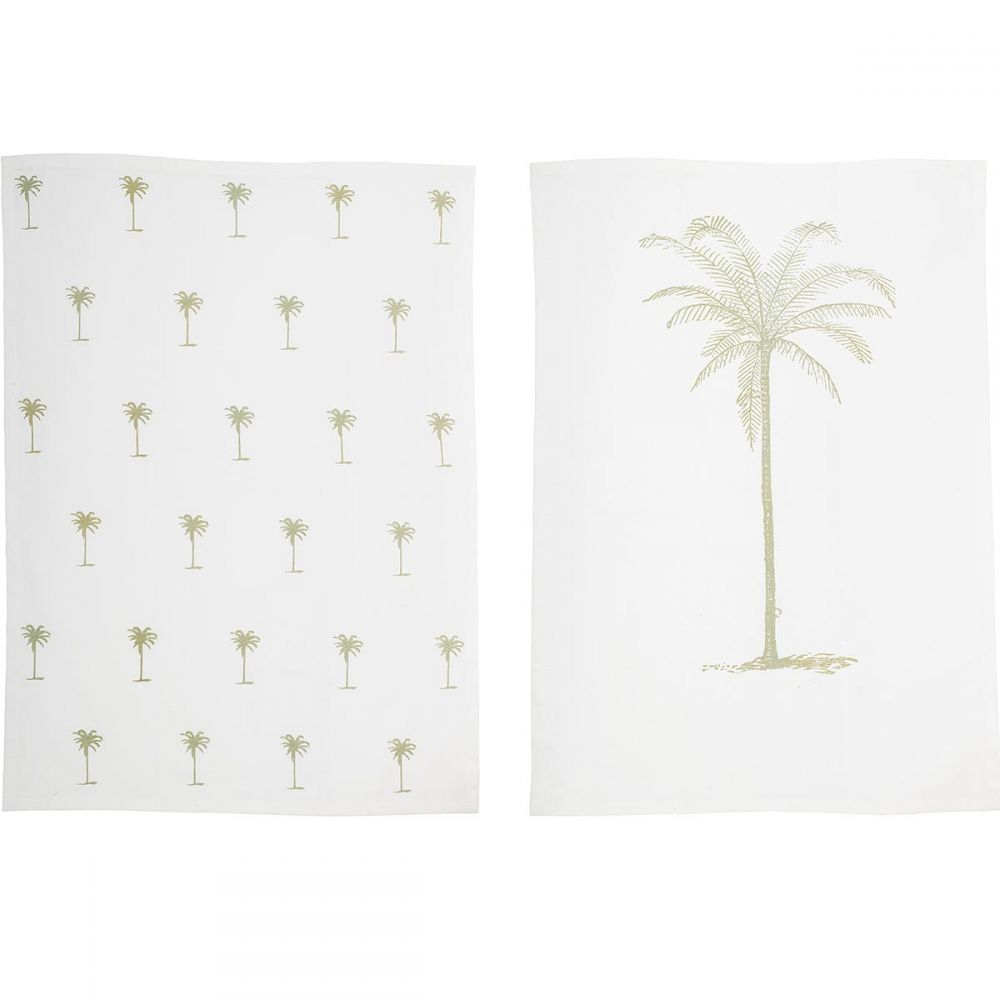Bloomingville: Set of 2 cotton kitchen tea towels with palm print