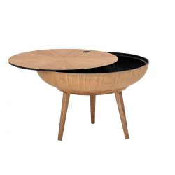 Table basse ronde avec plateau amovible