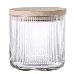 Glass jar with wood lid Bloomingville