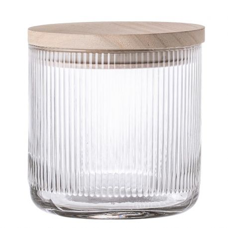 Small glass jar with hermetic wood lid