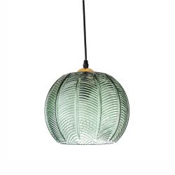 Pendant lamp green glass ball Bloomingville