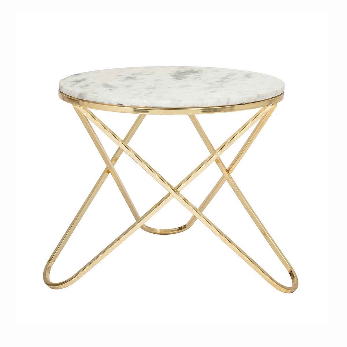 Table basse ronde en marbre - Table basse pieds dorés par Bloomingville
