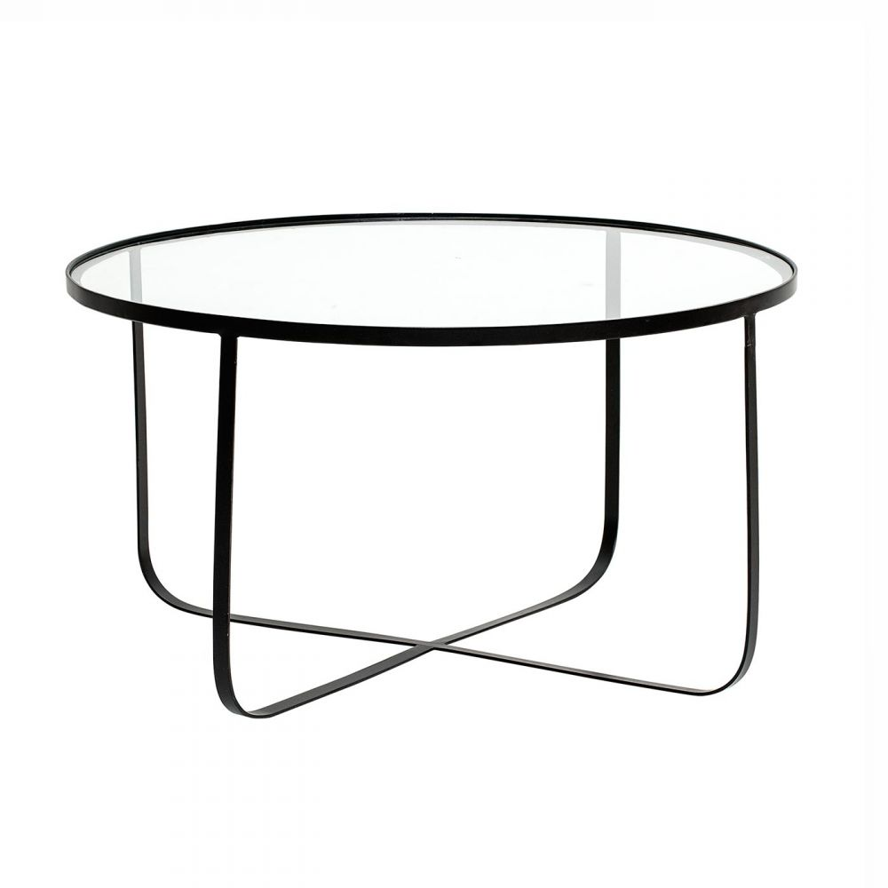 Bloominville Round Glass And Metal Coffee Table Harper Tempered