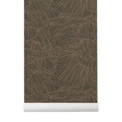 Coral dark green / gold wallpaper