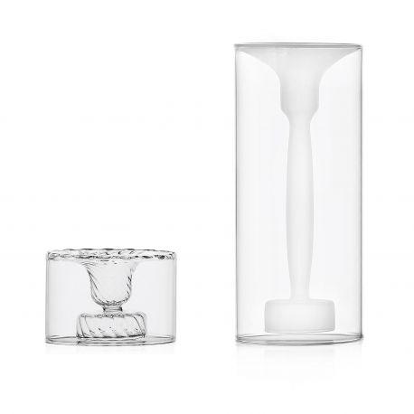 Bougeoir design en verre givré