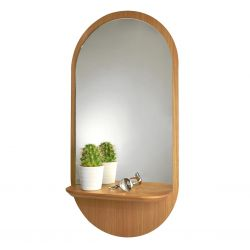 Wooden oval mirror Reine Mère