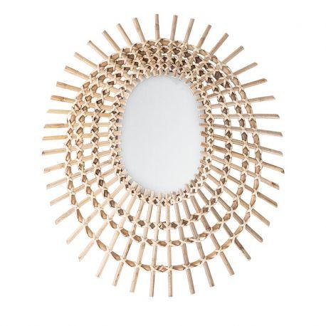 Oval rattan sun mirror Bloomingville