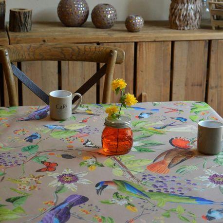 Fleur de Soleil coated tablecloth beige Birds