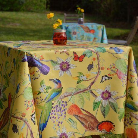 Fleur de Soleil nappe enduite jaune oiseaux