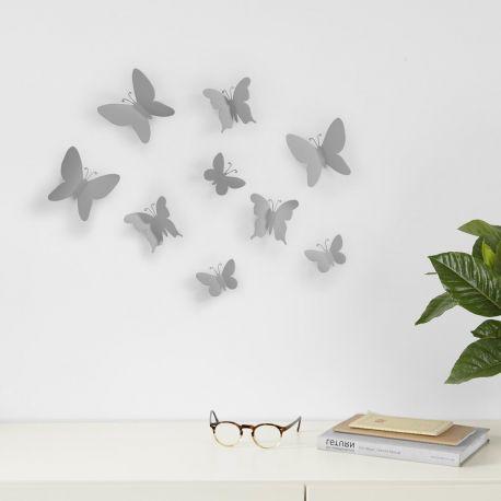 Papillon 3D mural gris