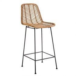 Chaise de bar en rotin et métal Bloomingville