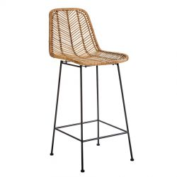 Fay rattan and metal bar stool Bloomingville