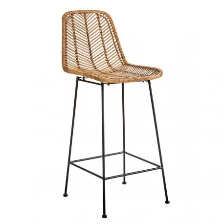Indus rattan and metal bar stool Bloomingville