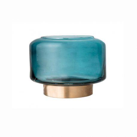 Photophore en verre bleu Bloomingvile