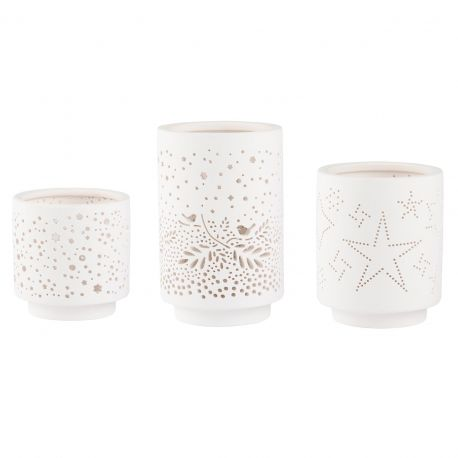 Set de 3 photophores en porcelaine