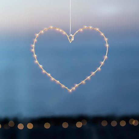 Petit coeur lumineux 40 leds doré