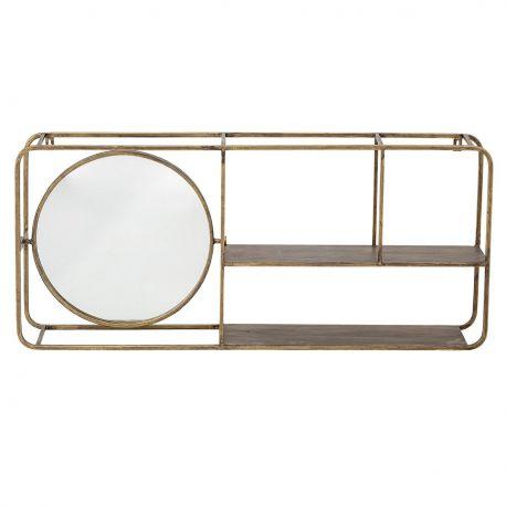 Grande étagère dorée avec miroir
