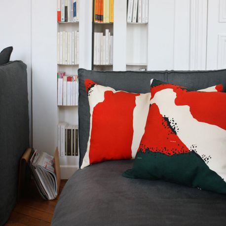 Orange and Green Broome Cushion Adjamée