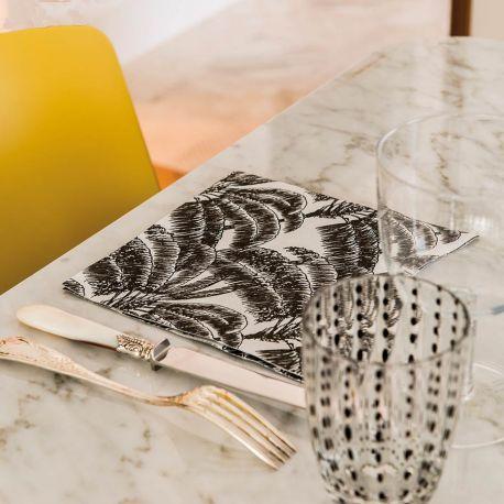 Black Palm non-woven napkins Françoise Paviot