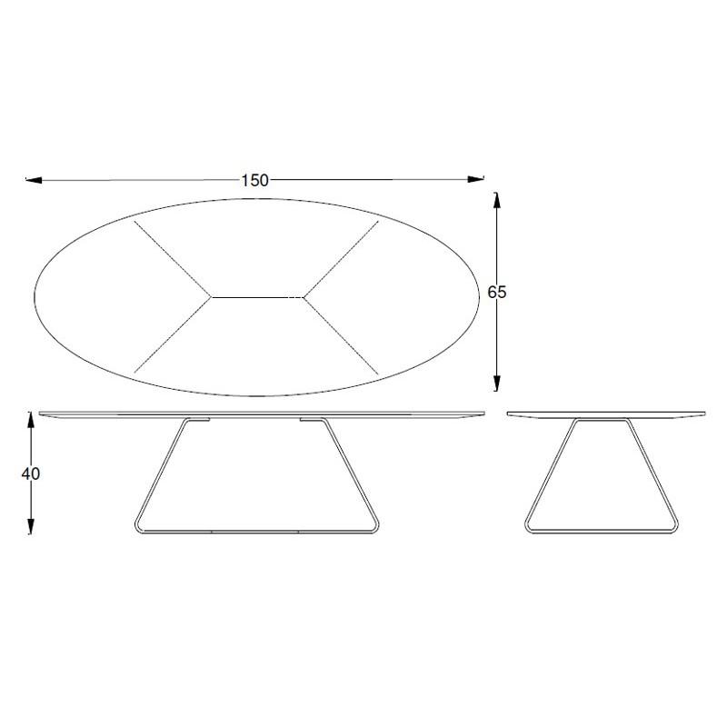 Table Basse Design Ovale Noire E1