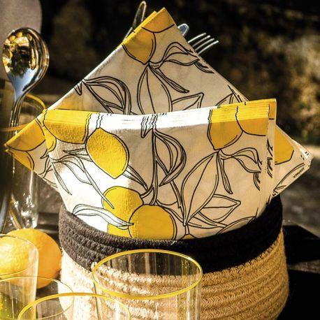 Serviettes papier motif citron Françoise Paviot