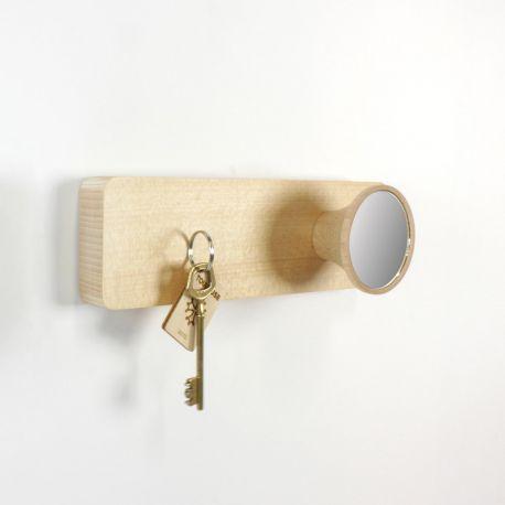 Patère murale et porte clé en bois