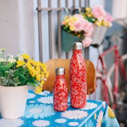 Red Flowers Insulated Bottle Qwetch