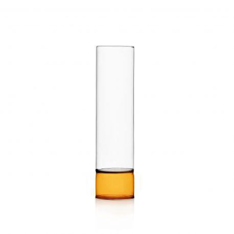 Vase en verre incolore et ambre 27 cm