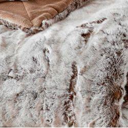 Natural Faux Fur Fleece Blanket Cocooning