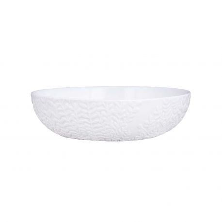 Saladier en Porcelaine Blanche aux reliefs feuilles Räder